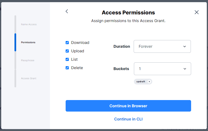 Set Access Grant Permissions and Select the Bucket