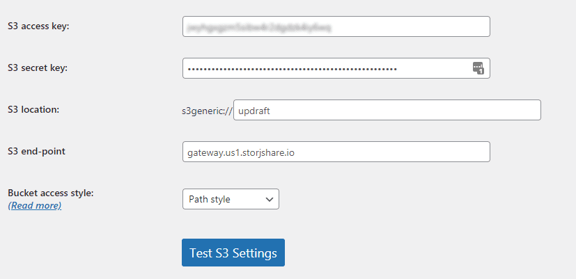 Enter Your S3 Credentials in UpdraftPlus