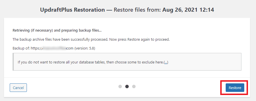 Finished downloading, confirm Restore