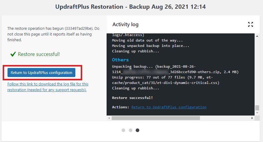 Restoration successful