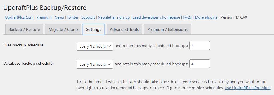 UpdraftPlus backup schedule settings